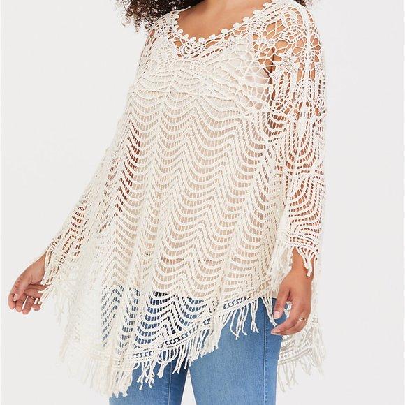 🆕Torrid Ivory Crochet Poncho  NWT
